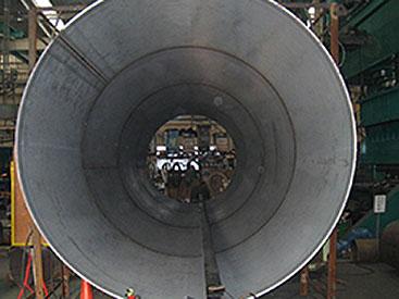 材質:SM490YA 加工:コニカル(テーパー曲) 内径1105R/1315R 全長9900